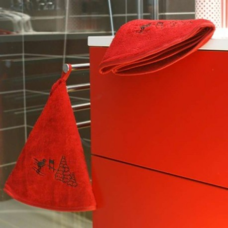 Torchon rond rouge Skieur