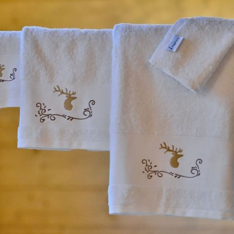 Stag on white towel
