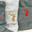 Shower towel embroided with deer 70x140