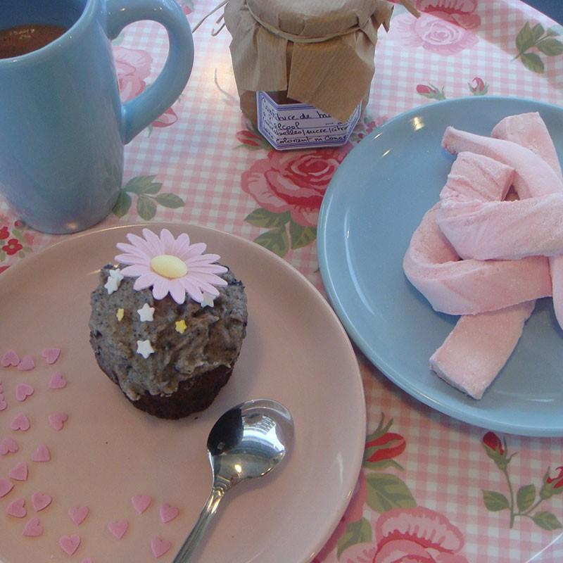 Assiette dessert bleu acidul deco chic vagabonde - Decoration assiette dessert ...