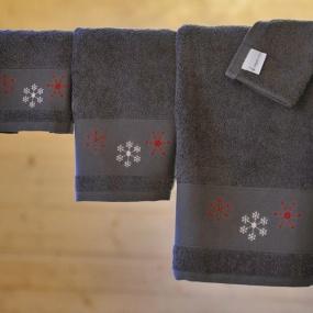 Grey towel with snowflake