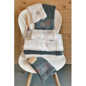 Alpine on white towel