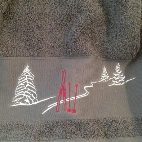 Serviette éponge Gris Trace de Ski 50x100cm