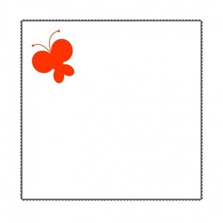 Taie d'oreiller Blanche brodée Papillon orange 65x65 cm