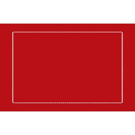 Taie d'oreiller rouge brodée blanc 65x100cm