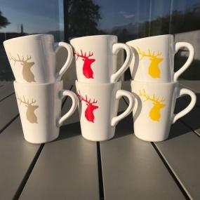 Mug Cerf de couleur (Pack de 6)