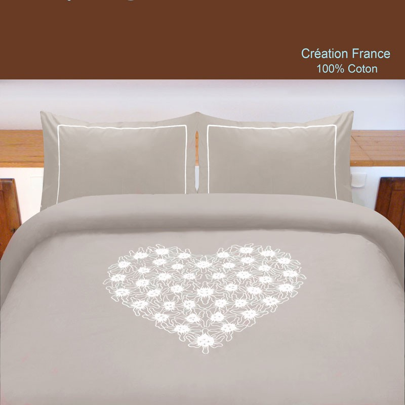 housse de couette coeur taupe percale de coton. Black Bedroom Furniture Sets. Home Design Ideas