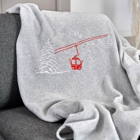 Grey blanket with Cable car