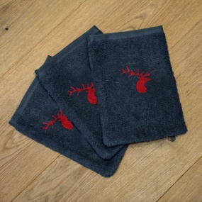 Grey washcloths with deer...