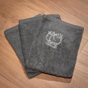 Grey washcloths with sheep...