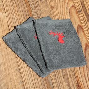 Grey washcloths with deer...