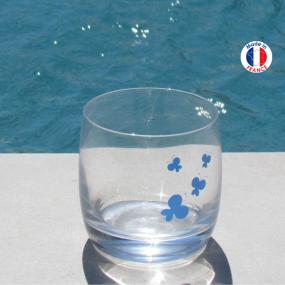 Verre à eau papillon bleu
