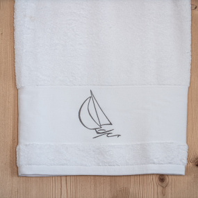 Shower towel with boat...