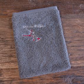 Grey Washcloth with skier (x3)
