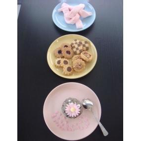 Assiette à dessert ronde bleu acidulé