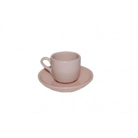 Taza para Café con Plato (Rosa)