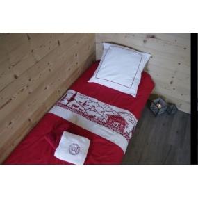 """Taie d'oreiller """"A la Montagne"""" 65 x 65 cm"""