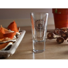 White Edelweiss flowers on shotglass