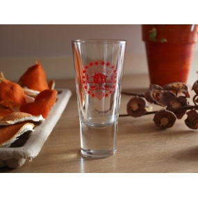 White Edelweiss flowers on shotglass