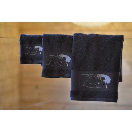 Polar bear on grey towel