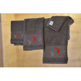 Red stag on grey guest towel