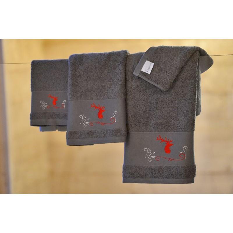drap de douche cerf gris deco montagne vagabonde. Black Bedroom Furniture Sets. Home Design Ideas