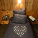Grey duvet cover set with heart of flower embroidered